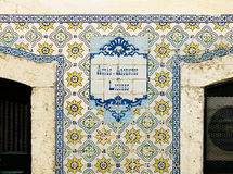 Antiques portuguese tiles hand painted, announcing liqueurs and spirits. Royalty Free Stock Photography
