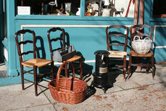 Antiques for Sale. Antiques displayed outside in front of the store Stock Images