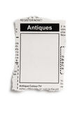 Antiques Sale ad Stock Images