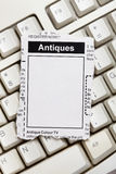 Antiques Sale ad Stock Images