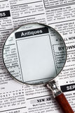 Antiques Sale ad Stock Photography