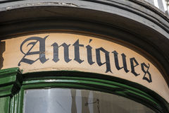 Antiques Shop Sign. A close-up of an Antiques shop sign Royalty Free Stock Images