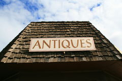 Antiques Sign. Close up of an antiques sign on top of a store Royalty Free Stock Photography