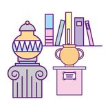 Antiques vase on pedestal and books exhibition museum. Vector illustration royalty free illustration