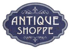 Antiques Vintage Sign Enamel Victorian. Shop shoppe blue elegant antique old vintage embossed royalty free illustration