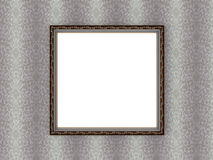 Antiquey picture frame on vintage floral wallpaper Stock Images
