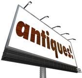 Antiquitätens-Zeichen-alte Erbstück-Möbel-Flohmarkt Kauf-Verkaufs-Billbo Lizenzfreies Stockbild