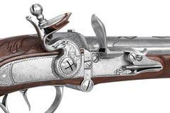 Antiquité en bois d'arme à feu de pistolet, vue étroite Photos stock