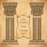 Antiquité et colonne de style et ensemble classiques baroques de vecteur de bannière de ruban Éléments architecturaux de concepti Photos libres de droits