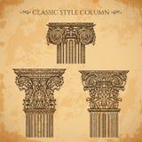 Antiquité et ensemble classique baroque de vecteur de colonne de style Éléments architecturaux de conception de détails de vintag Image stock