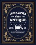 Antiquité tirée par la main de gravure de label de frontière de cadre de vintage rétro illustration de vecteur