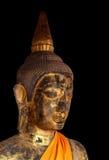 Antiquités de statue de Bouddha avec le noir photographie stock