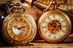 Antiquité de vintage de montre de poche de vintage Images libres de droits