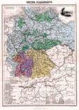 Antiquiteit 1870 Kaart Duitsland Royalty-vrije Stock Afbeelding