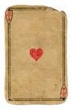 Antiquiteit gebruikte speelkaartaas van hartenachtergrond stock fotografie