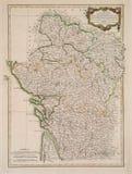 Antiquiteit gekleurde kaart van het gebied van Frankrijk. royalty-vrije stock foto's