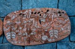 Antiquiteit Gesneden Houten Bas Relief stock afbeelding