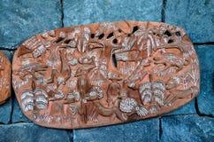 Antiquiteit Gesneden Houten Bas Relief stock foto