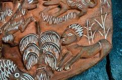 Antiquiteit Gesneden Houten Bas Relief stock foto's