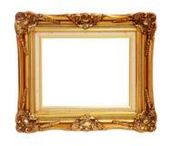 Antiquiteit van gouden foto kader geïsoleerde het knippen weg royalty-vrije stock afbeeldingen