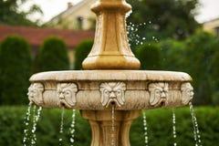 Antiquiteit weinig waterval in het close-up van tuin dalende dalingen stock foto's