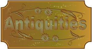 Antiquiteiten - etiket met inschrijving in de stijl van grunge oud metaal stock illustratie