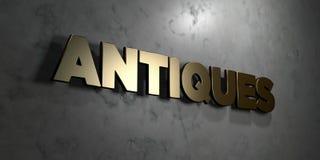 Antiquiteiten - Gouden teken opgezet op glanzende marmeren muur - 3D teruggegeven royalty vrije voorraadillustratie stock illustratie