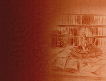 Antiquities. Background with place for your text - old paper texture and pencil drawing showing burning candle and ancient books Royalty Free Stock Photos