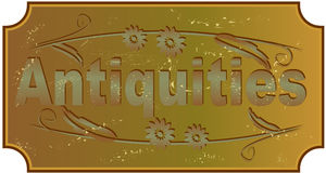 Antiquities - label with inscription in the style. Of grunge old brass Stock Photo