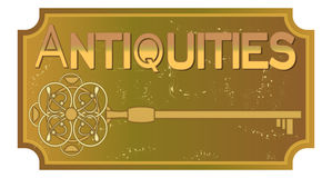 Antiquities signboard in old metal design with ancient key, ancient patinated brass. Vector eps10 Stock Image