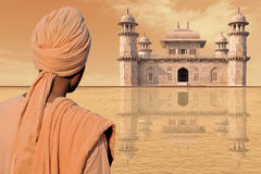 Antiquity. Indian palace and elegant man with turban Royalty Free Stock Photos