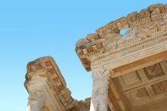 Antiquity greek city. Ephesus. Library close-up Stock Photography