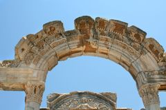 Antiquity greek city. Arc. Antiquity greek city - Ephesus. Arc and blue sky Stock Image