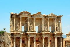 Antiquity greek city Ephesus. Old Library Royalty Free Stock Photo