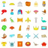 Antiquity study icons set, cartoon style. Antiquity study icons set. Cartoon set of 36 antiquity study vector icons for web isolated on white background Stock Photos