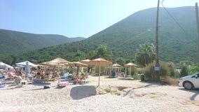 Antisamos海滩, Kefalonia,希腊 库存照片