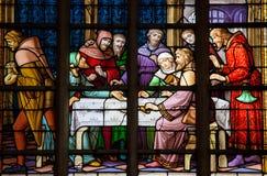 Antisemitiskt målat glassfönster i Bryssel Royaltyfria Bilder