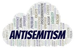 Antisemitism - type of discrimination - word cloud. Wordcloud made with text only royalty free illustration