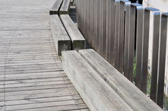 Antiseptic timber floor. And stainless steel baluster in a park Royalty Free Stock Images