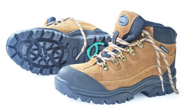 Antiskid high tops hiking boots Royalty Free Stock Image