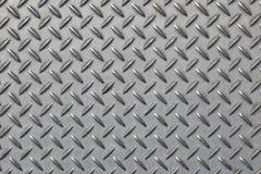 Antislip grijze metaalplaat met diamantpatroon Stock Afbeeldingen