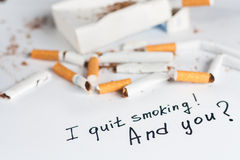 Antismoking background with broken cigarettes Stock Photo