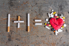 Antismoking background. Diseased heart Royalty Free Stock Image