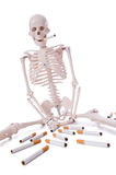 The antismoking concept with cigarettes and skull Stock Images