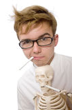 The antismoking concept with man and skeleton Royalty Free Stock Photo