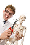 The antismoking concept with man and skeleton Stock Photos