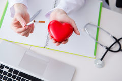 The antismoking concept wih heart in medical concept Royalty Free Stock Photography