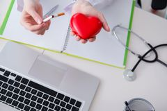 The antismoking concept wih heart in medical concept Stock Photo