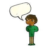 antisozialer Junge der Karikatur mit Spracheblase Stockfotografie