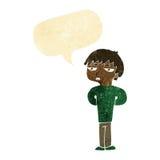 antisozialer Junge der Karikatur mit Spracheblase Stockbild
